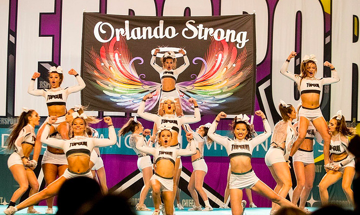 top gun allstars angels Orlando strong themed cheerleading routine