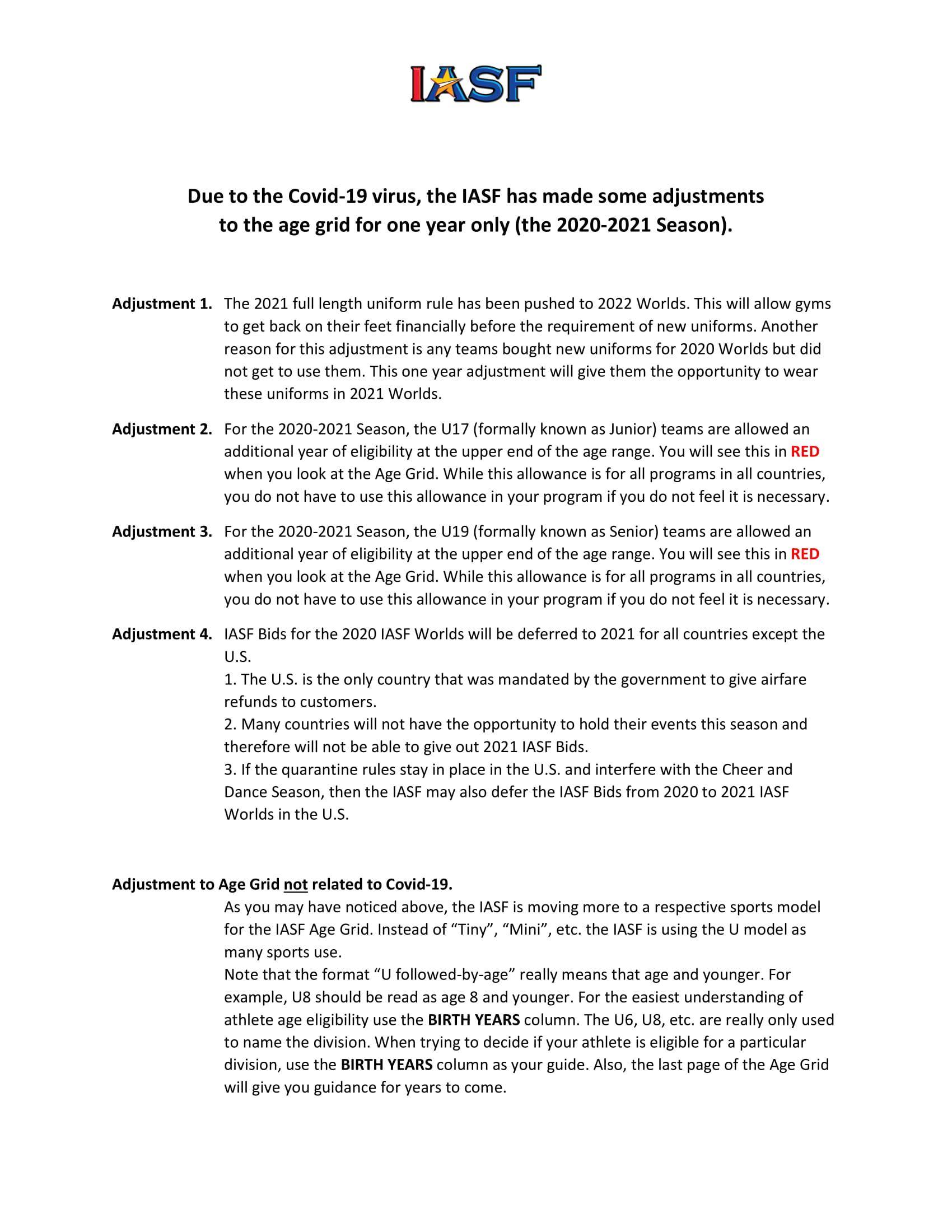 cheerleading organization IASF changes for 2020-2021 international cheerleading worlds