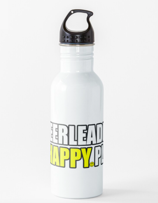 water bottle with cheerleading text gift idea