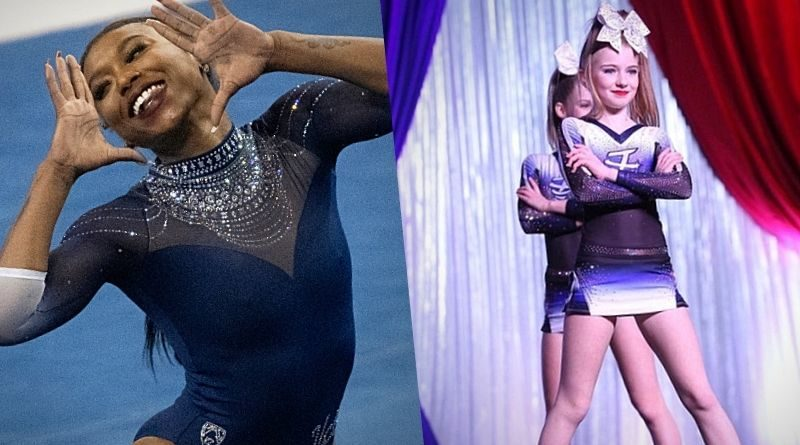 cheerleading music license compared to gymnastics featuring Nia Dennis black excellence floor routine