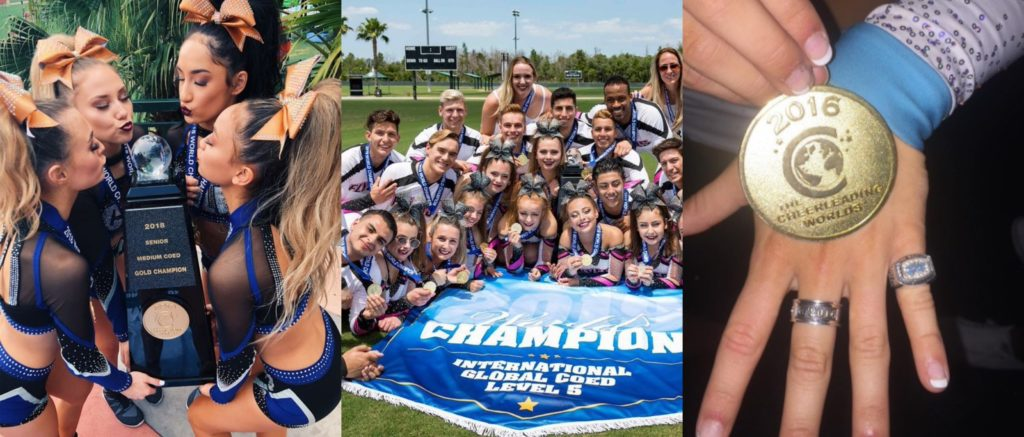 the cheerleading worlds past winners from the California Allstars black ops, flyers Allstars karma and cheer extreme SSX with their worlds rings and medals