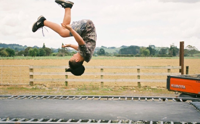 cheerleading back tuck on trampoline at home